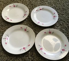 "Victoria Rose 4 Bread Butter Plates Gold Trim 7"".By China Great Replacem... - $15.00"