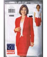 Butterick 4986 Misses' Jacket, Top, Skirt - Sizes 18, 20, 22 - UNCUT  - $6.00