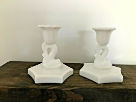Pair of Westmoreland Milk Glass Candle Stick Holders Koi Fish / Dolphin - $17.82