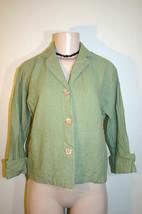 COLDWATER CREEK Sz PXS Petite Sage Green Linen Blend Casual Blazer Jacket - $10.13