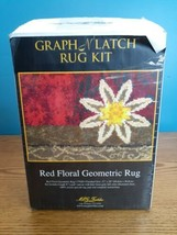 MCG Textiles Graph n' Latch Red Floral Geometric #37620 Rug Kit NEW Open... - $13.85