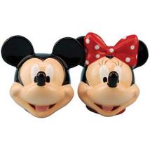 Walt Disney Mickey & Minnie Heads Ceramic Salt and Pepper Shakers Set NEW UNUSED - $24.14