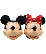 Walt Disney Mickey & Minnie Heads Ceramic Salt and Pepper Shakers Set NE... - $24.18