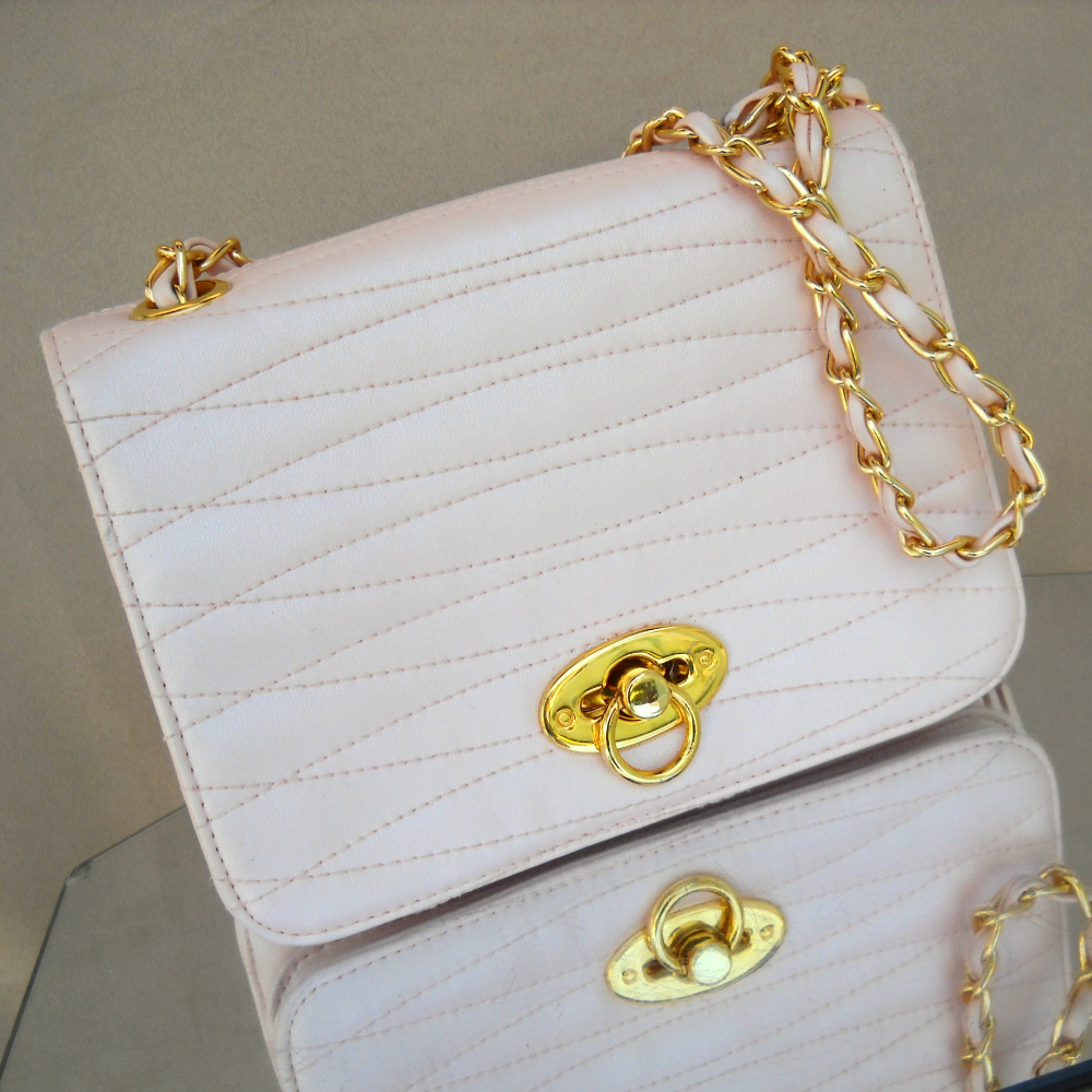 Bechamel Handbag Pink Quilted Front Shoulder Bag Chain Strap Purse