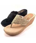 Sbicca Porto Black Slip On Thong Wedge Sandal Size 10 - $32.50
