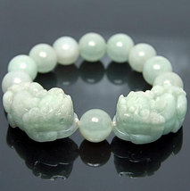 Free Shipping - good luck Amulet Natural green jade carved '' PI YAO'' Prayer Be - $30.00
