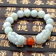 Free Shipping - Natural green jade carved  PI YAO Prayer Beads charm beaded brac - $30.00