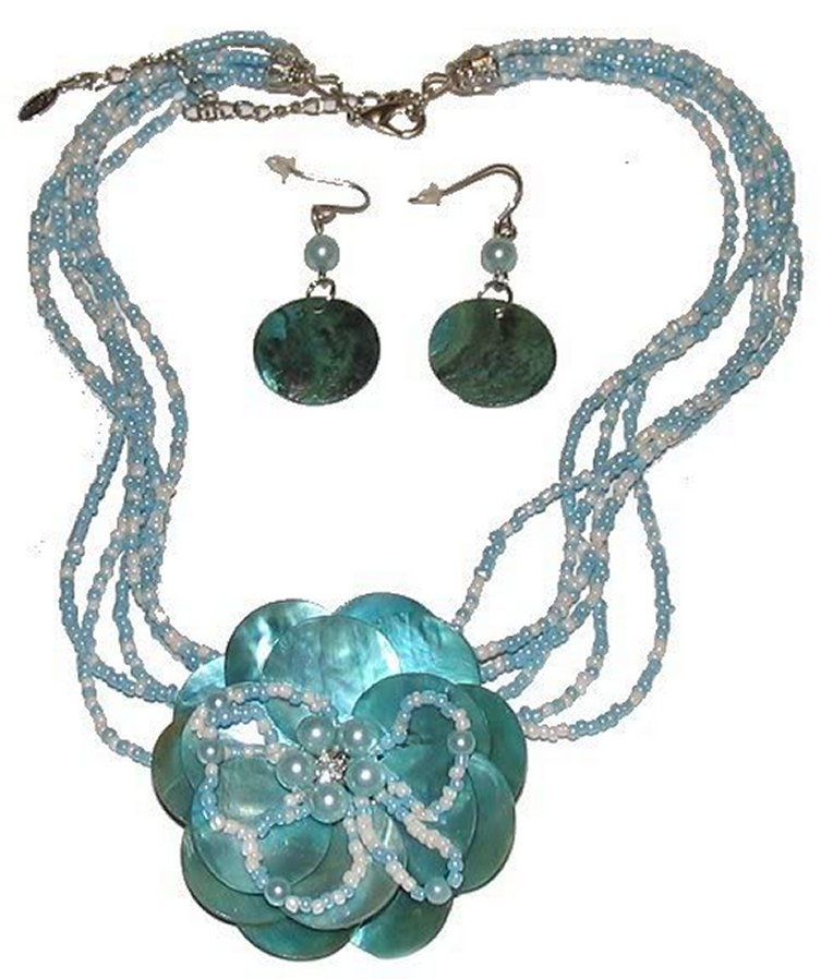 Primary image for Aqua Blue Natural Shell Necklace Earring Set Gorgeous