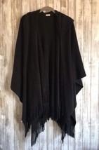 Echo Black Hooded Poncho Cape Wrap Scarf Fringe * RARE! - $39.99