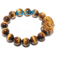 Free shipping - good luck Natural tiger eye stone carved PI Yao charm Bracelet - - $25.99