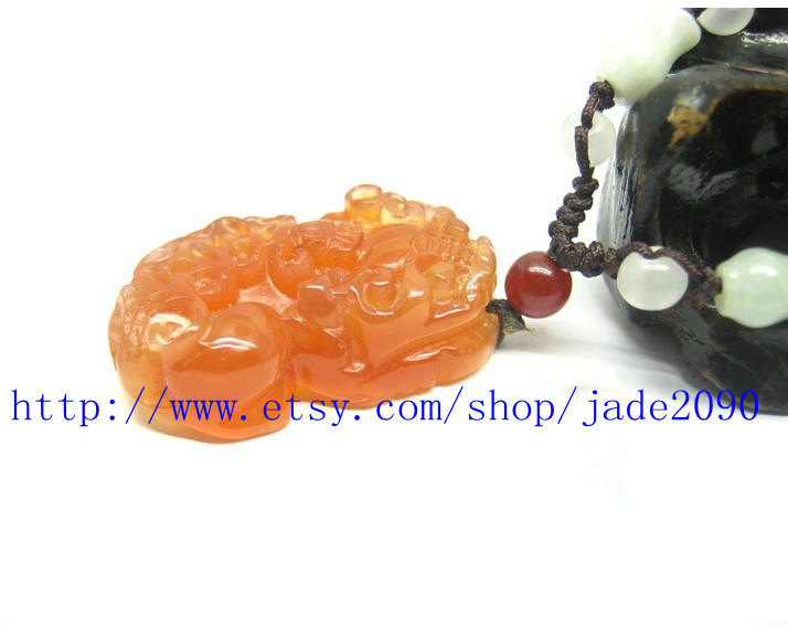 Free Shipping - good luck Natural light Red agate / Carnelian Carved Pi Yao Amul
