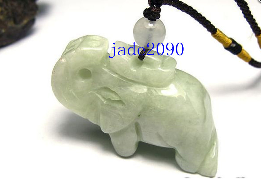 Free Shipping - Natural green Jadeite Jade carved Elephant charm Pendant - jade2 - $19.99