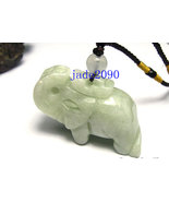 Free Shipping - Natural green Jadeite Jade carved Elephant charm Pendant... - $19.99