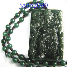 Free shipping - NATURAL Green jadeite jade carved ''Guan Yu'' charm bead... - $30.00