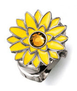 Silver Tone Sunflower Ring Watch With Yellow En... - $19.99