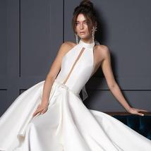 New Arrivals Satin Sheath Wedding Dresses  Beaded Crystal Waist Sexy Backless Ha image 1