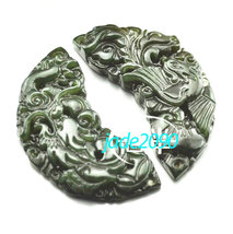 Free Shipping - Dragon and Phoenix pendant  Hand- carved Natural dark green Drag - $19.99