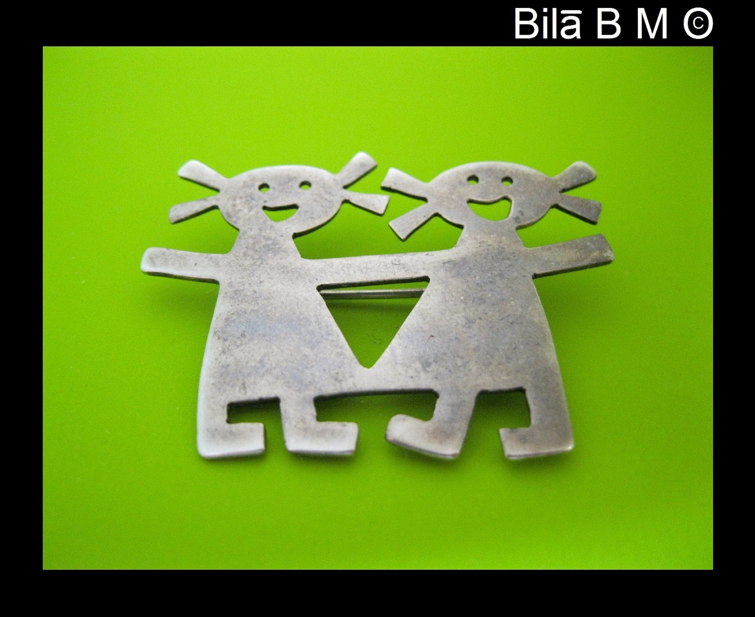 Vintage STERLING Silver BROOCH Pin - Girl Twins or Best Friends - FREE SHIPPING