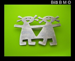 Vintage STERLING Silver BROOCH Pin - Girl Twins or Best Friends - FREE S... - $40.00