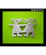 Vintage STERLING Silver BROOCH Pin - Girl Twins or Best Friends - FREE S... - €35,26 EUR