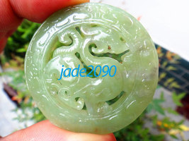 Free Shipping - Chinese dragon , Elegant Natural green Dragon jadeite ja... - $19.99