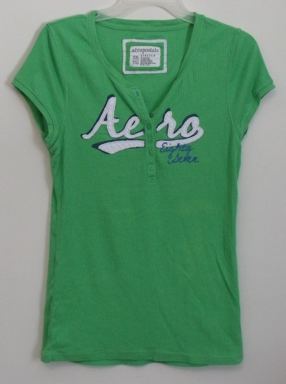 Primary image for Womens Aeropostale Green Stretch Cap Sleeve Shirt Size XXL