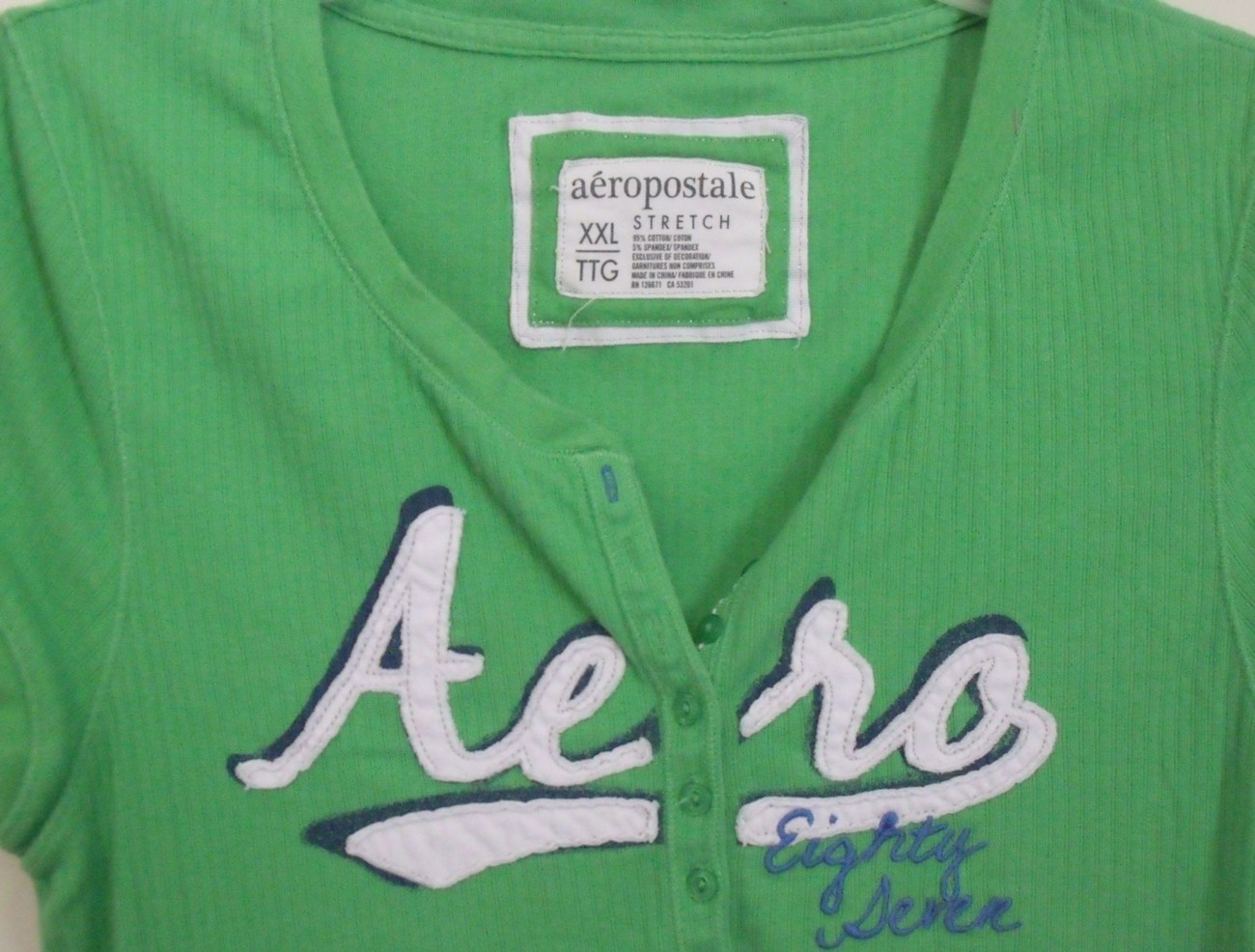 Womens Aeropostale Green Stretch Cap Sleeve Shirt Size XXL