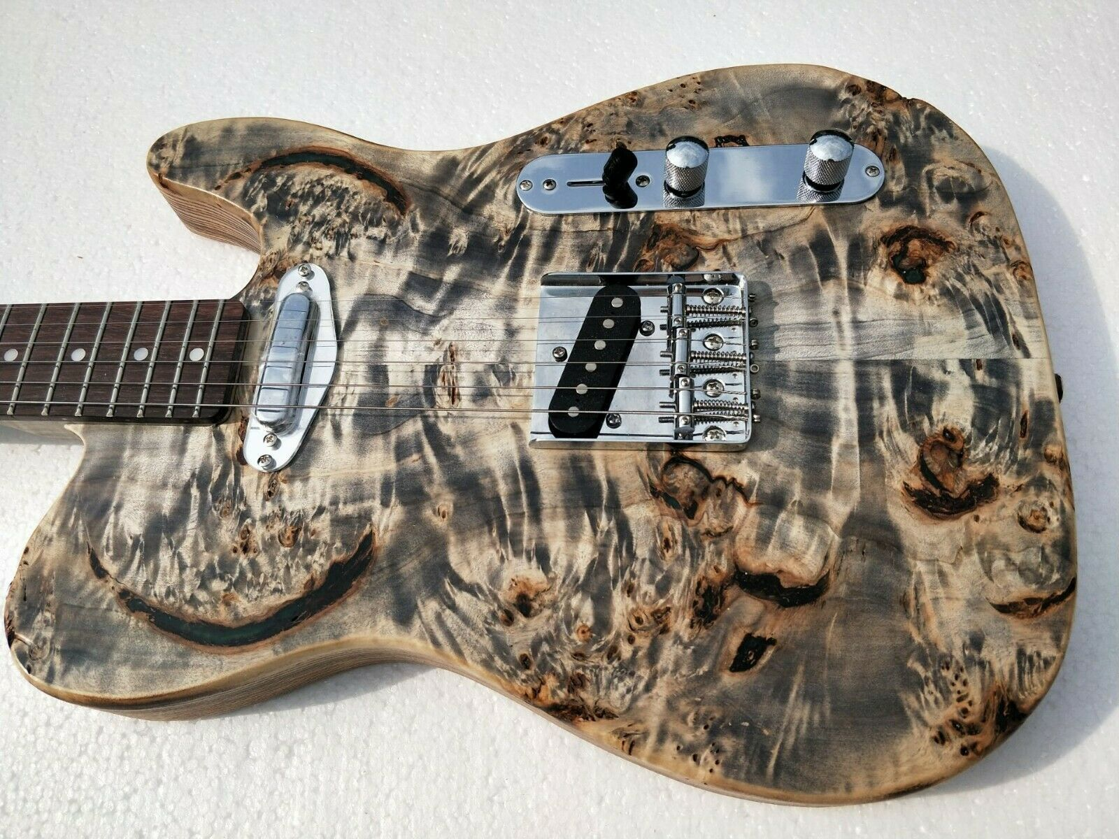 Primary image for Musoo brand electric guitar ash body with AAA burl popular top flame maple neck