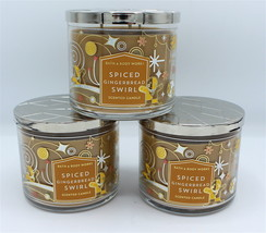 x3 Bath & Body Works Spiced Gingerbread Swirl Large Three Wick Jar Candl... - $62.99