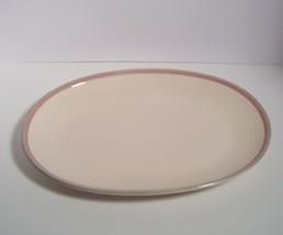 "Pfaltzgraff - Aura Pink - Oval Platter 14""  Made in USA Blue/Gray & Pink Border - $18.50"