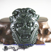 Free Shipping - natural jadeite jade , hand-carved natural black green jadeite l - $29.99