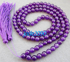 Free Shipping - NATURAL Amethyst with Purple Tassel 108 Meditation Yoga Prayer B - $30.00