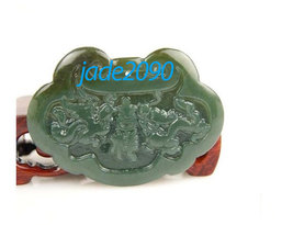 Free Shipping - Good luck Dragon and Phoenix  Hand- carved Natural green Dragon  - $19.99