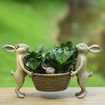 Rabbit Family Planter Holder Metal Garden Sculpture Flower /Herbs Pot,16... - $119.79