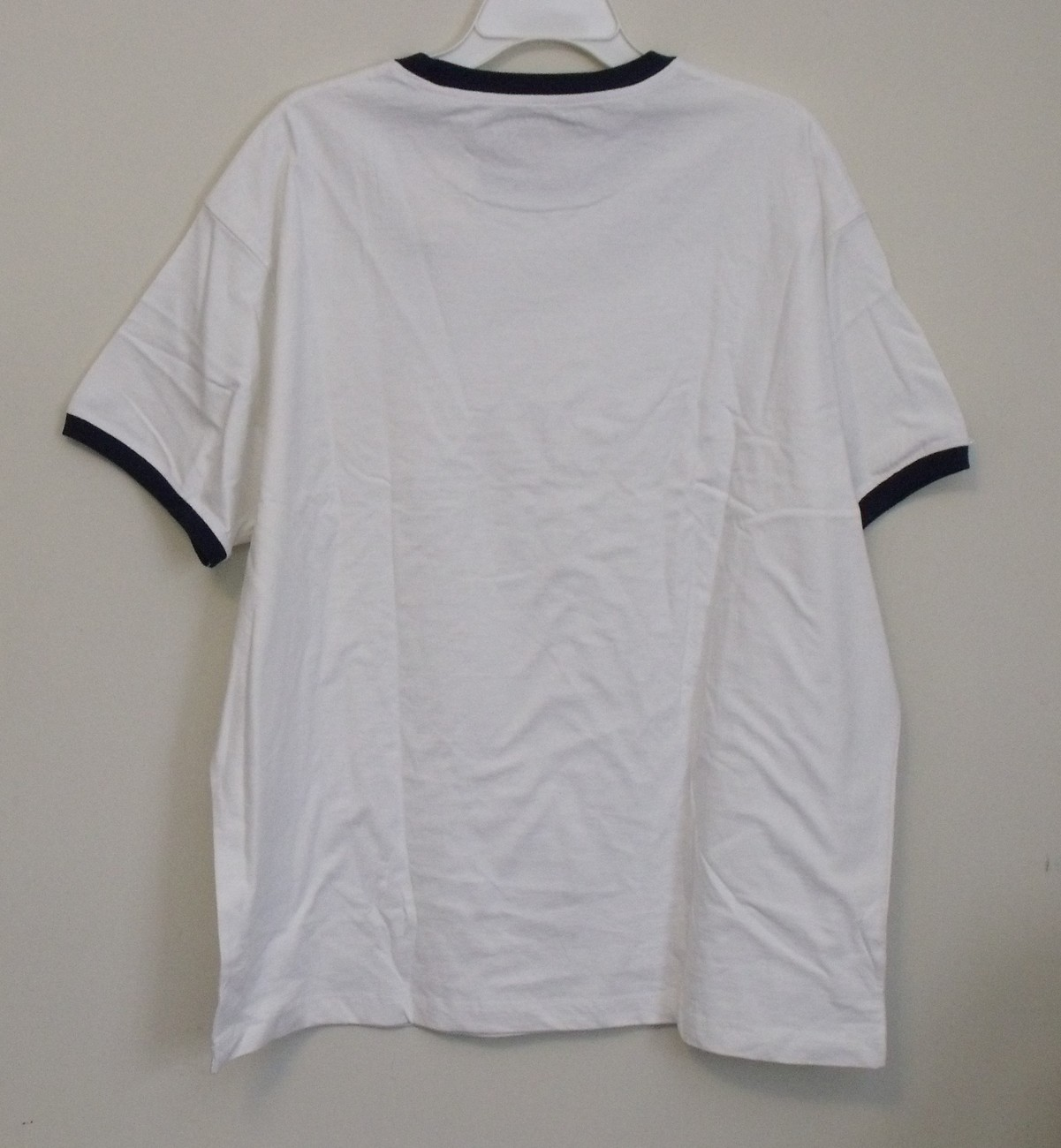 Mens St Johns Bay NWT White Navy Blue Trim Short Sleeve T Shirt Size XL