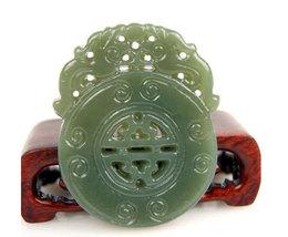 Free Shipping - handmade good luck Natural Green jade jadeite carved prayer luck - $29.99
