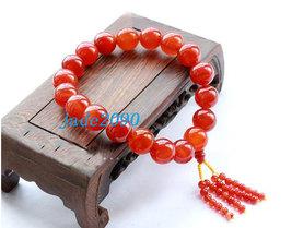 Free Shipping - good luck 100% natural RED jade Prayer Beads charm bracelet - ja - $30.00