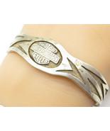 HARLEY DAVIDSON 925 Silver - Vintage Two Tone Classic Logo Cuff Bracelet... - $82.43