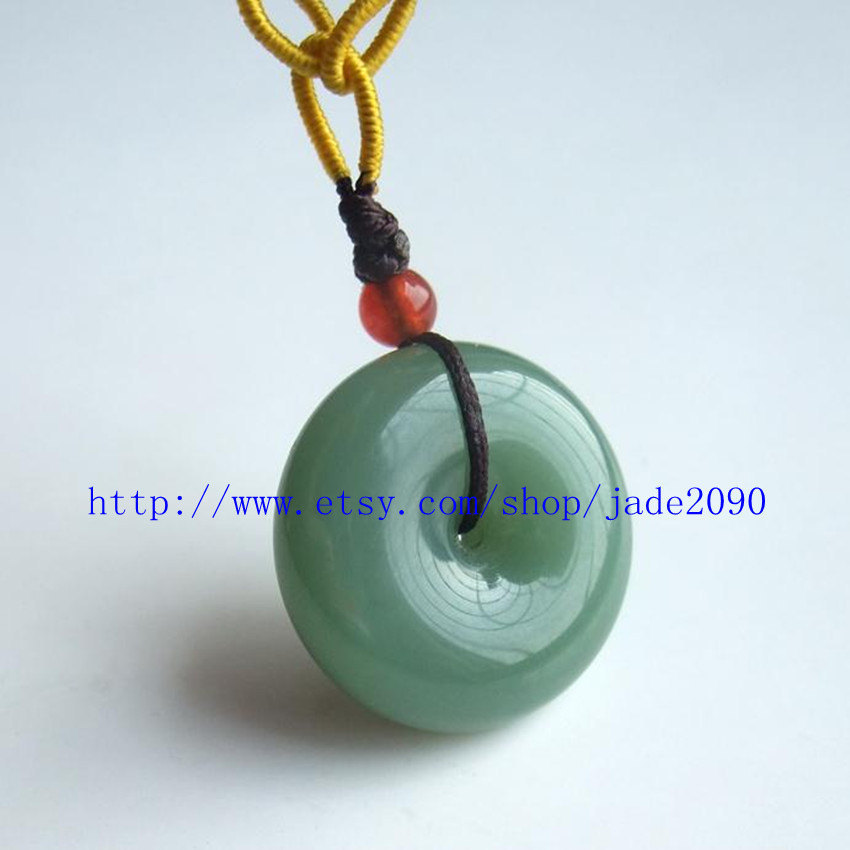 Primary image for Free Shipping - Real   Green jadeite jade Blessing luck Button charm jade pendan