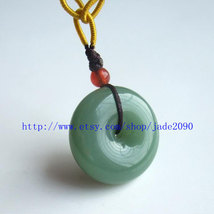 Free Shipping - Real   Green jadeite jade Blessing luck Button charm jad... - $19.99