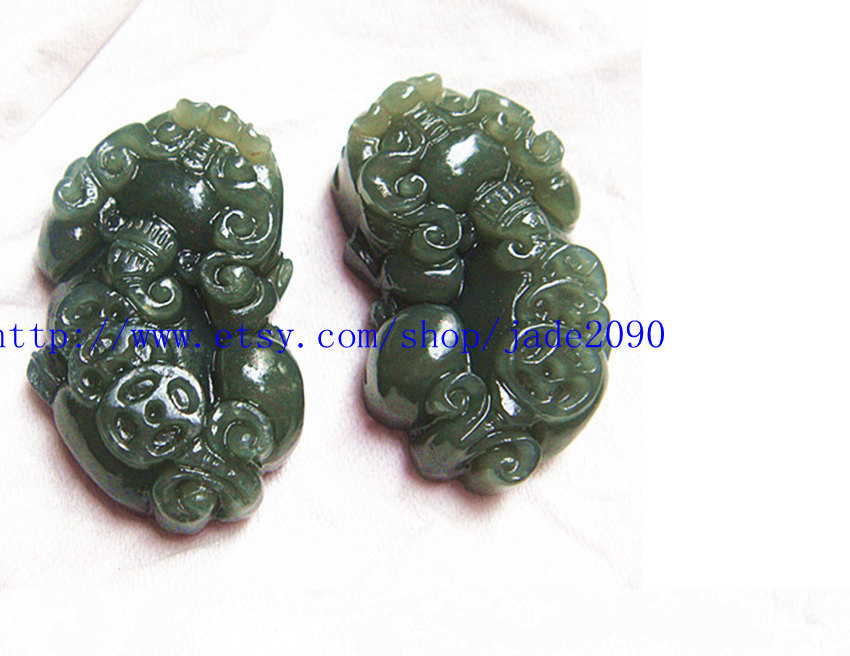 Free Shipping - auspicious Natural Green jade carved Pi Yao jadeite jade Amulet