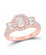 14kt Rose Gold Emerald Diamond 3-stone Bridal Wedding Engagement Ring 1-... - £2,288.86 GBP