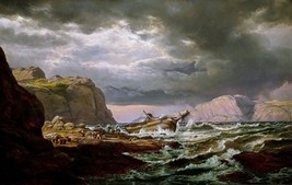 A Shipwreck on the Coast of Norway Painting by J. C. Dahl Art Reproduction - $28.99+