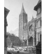 FRANCE Rouen Cathedral - 1821 Engraving Print Cpt. Batty - $21.60