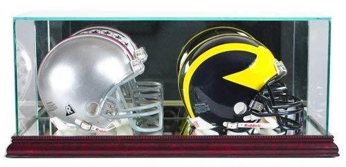 Double Football Mini Helmet Display Case - Glass Top with Cherry Wood Base