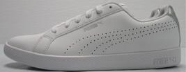 PUMA Women's Smash WNS Perf Metallic Sneakers - White/Silver - Size 9.5 - $29.69
