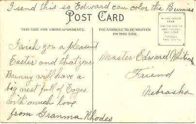 Easter Wishes To Master Edward Whitcomb Vintage Post Card