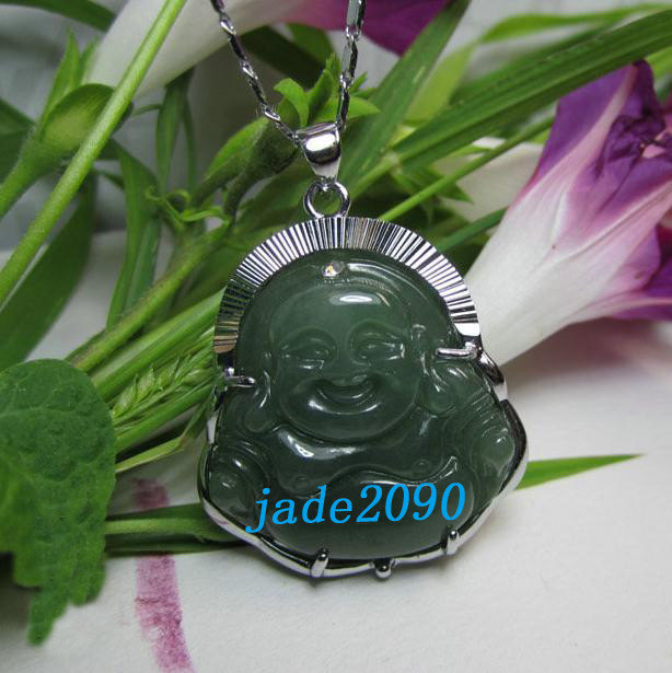 Primary image for Free Shipping - Genuine AAA Natural Green  jade carved Laughing Buddha charm Pen