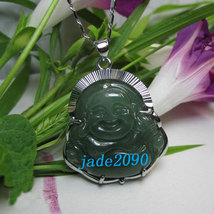 Free Shipping - Genuine AAA Natural Green  jade carved Laughing Buddha charm Pen - $26.00