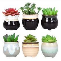 Sunm boutique Ceramic Succulent Pots, Flowing Glaze Succulent Planters, ... - $14.54